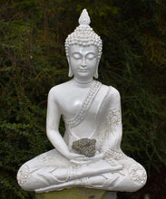 Load image into Gallery viewer, New! Large Shabby Chic Meditation White Buddha & Natural Pyrite Crystal Raw Piece