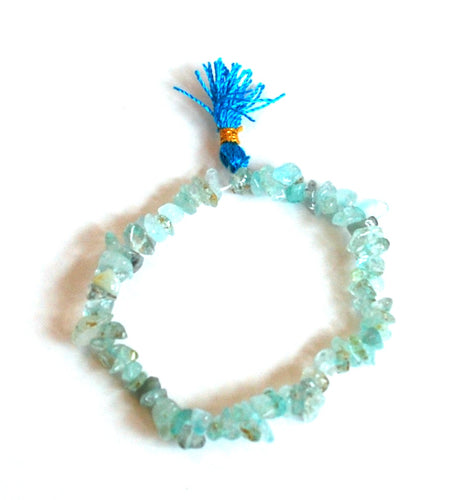 Natural Aquamarine Crystal Stone Chips Power Bracelet Gift Wrapped Inc Benefits Tag