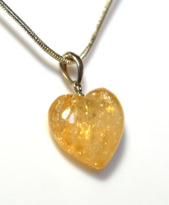 New! Citrine Crystal Stone 925 Sterling Silver Heart Pendant Necklace Inc 925 Silver Snake Chain