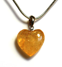 Load image into Gallery viewer, New! Citrine Crystal Stone 925 Sterling Silver Heart Pendant Necklace Inc 925 Silver Snake Chain