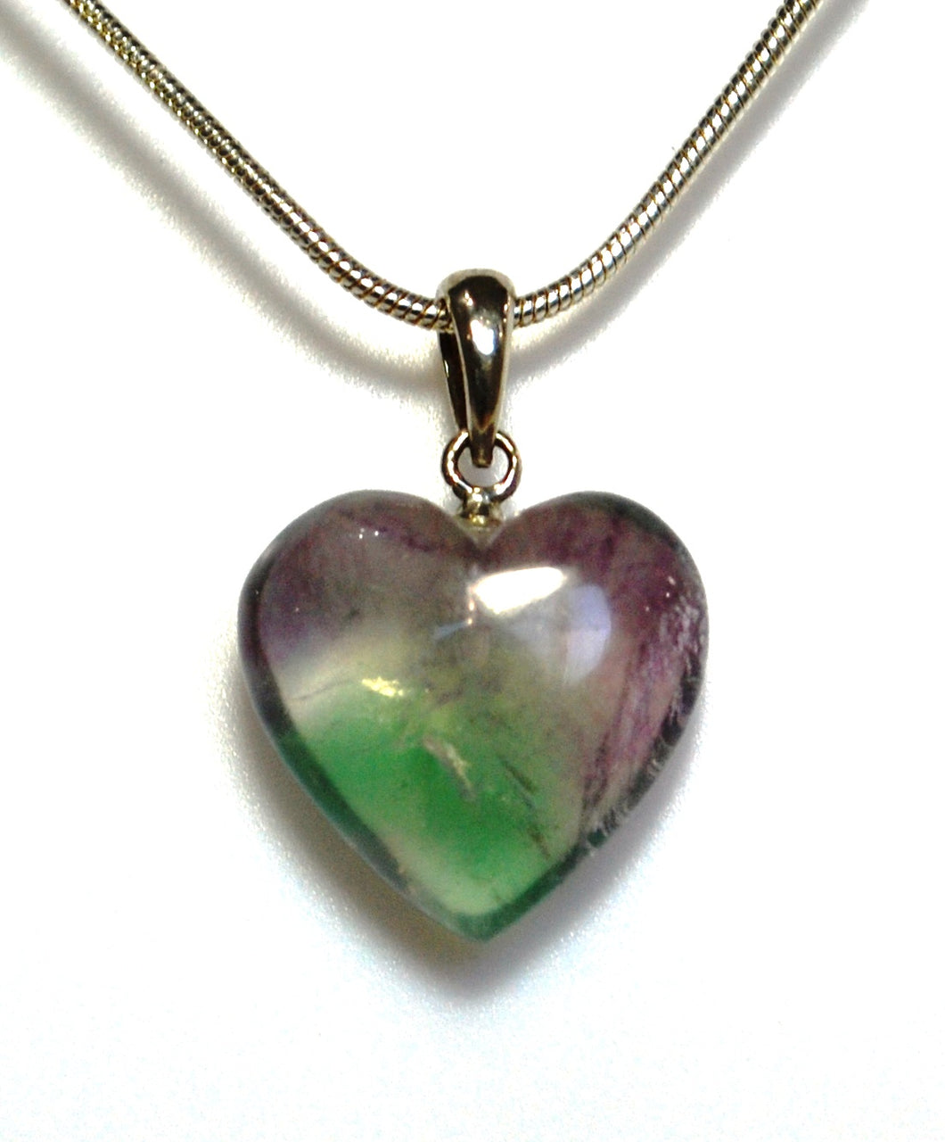 New! Natural Fluorite Polished Crystal Heart 925 Sterling Silver Clasp & 18