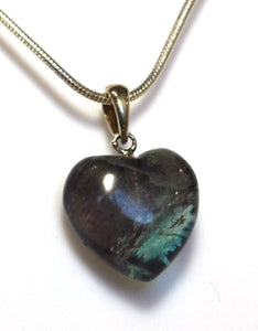 "New! Natural Fluorite Polished Crystal Heart 925 Sterling Silver Clasp & 18"" Chain Necklace"