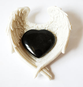 Black Obsidian Crystal Stone Heart & Angel Wings Dish Gift Wrapped - Krystal Gifts UK