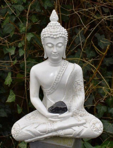 New! Large Shabby Chic Meditation White Buddha & Natural Shungite Crystal Raw Piece