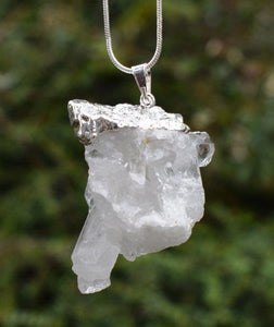 New! Natural Cluster Points Clear Quartz Crystal Stone Electroplated Pendant, Chain & Luxury Gift Box