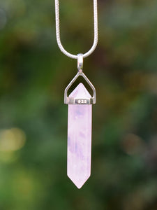 New! Rose Quartz Polished Terminated Pendant Necklace 925 Sterling Silver
