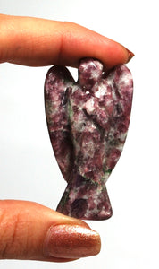 Natural Lepidolite Purple Crystal Stone Healing Angel Figure For 'Calm'