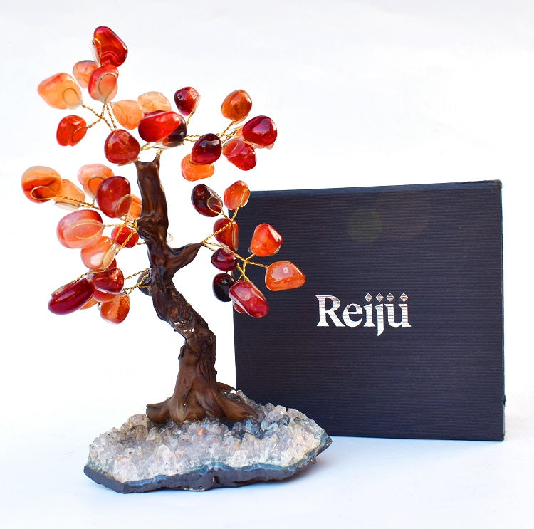 New! Unique Natural Orange Carnelian & Amethyst Base Crystal Stone Chips Gemstone Tree Gift Boxed