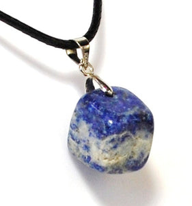 New! Natural Polished Lapis Lazuli Crystal Tumble Stone Pendant Inc Cord Necklace
