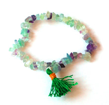 Load image into Gallery viewer, Fluorite Multi Chips Crystal Power Bracelet Gift Wrapped With Description Card.