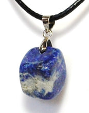 Load image into Gallery viewer, New! Natural Polished Lapis Lazuli Crystal Tumble Stone Pendant Inc Cord Necklace