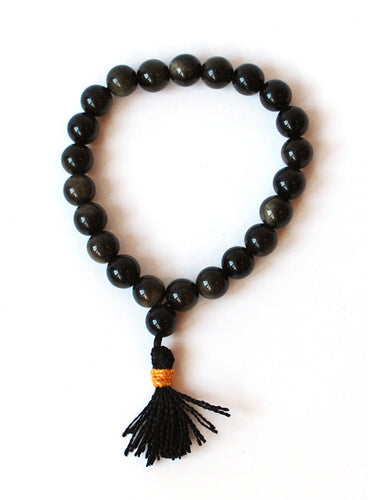 Natural Black Obsidian Crystal Stone Beads Power Bracelet