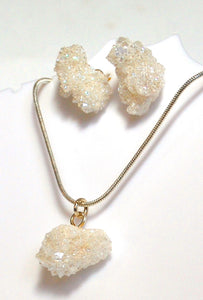 New! White Angel Aura Quartz Crystal Stone Druzy 925 Silver Earring & Pendant Necklace Gift Set Inc Chain