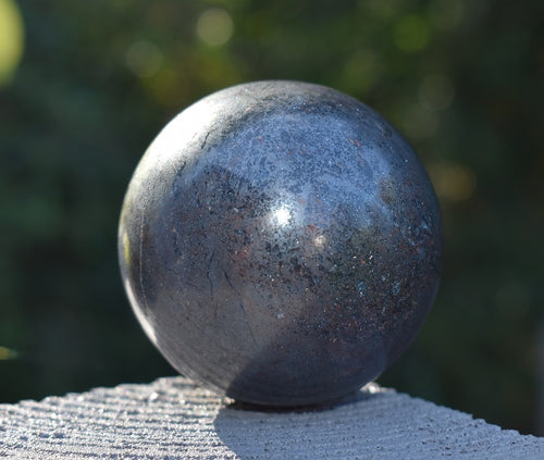 New! Large Solid Natural & Unique Large Hematite Crystal Stone Polished Sphere Ball