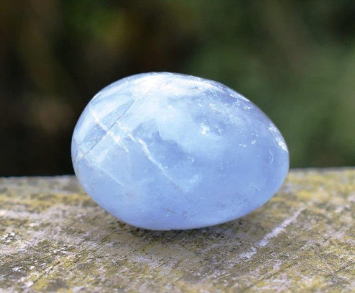 New! Celestite Celestine Blue Natural & Unique Polished Crystal Tumble Stone & Benefits Tag