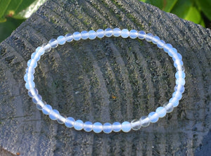 New! Reiki Charged Opalite Crystal Small Beads Bracelet Inc Luxury Gift Box