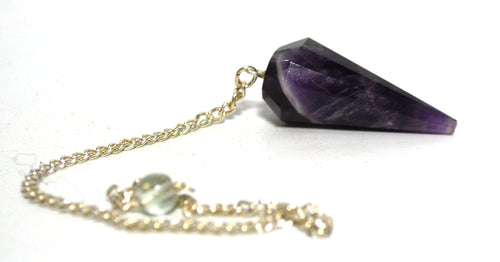 Natural Amethyst Crystal Stone Natural Unique Faceted Purple Dowsing Pendulum