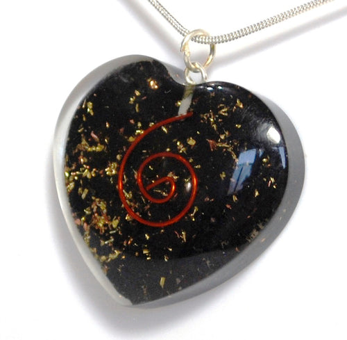 Shungite Crystal Orgone Heart Pendant Inc Silver Plated Snake Chain