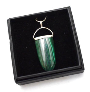 "New! Malachite Polished Crystal 925 Sterling Silver & 18"" Chain Necklace Inc Luxury Gift Boxed"