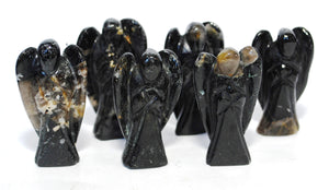 Natural Black Tourmaline Hand Carved Crystal Stone 'Protection' Angel Figure (Seconds Not Perfect)