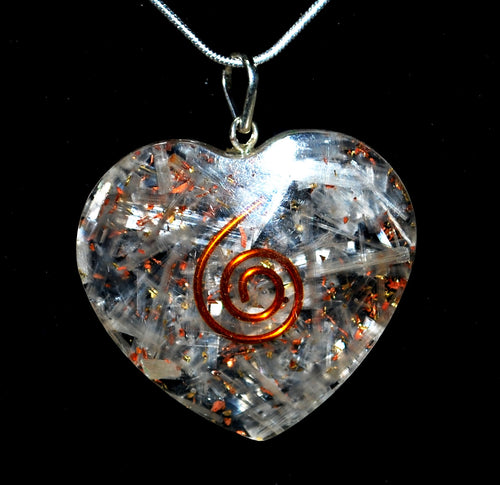 New! Selenite Crystal Heart Pendant Inc 18