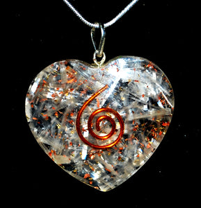 "New! Selenite Crystal Heart Pendant Inc 18"" Silver Chain Necklace"