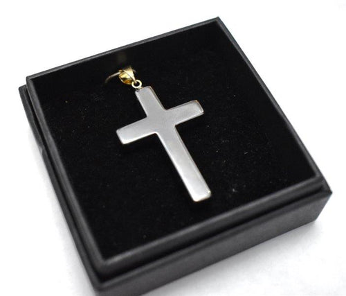 New! Hematite Natural Crystal Cross Pendant Necklace With Silver Chain & Gift Box