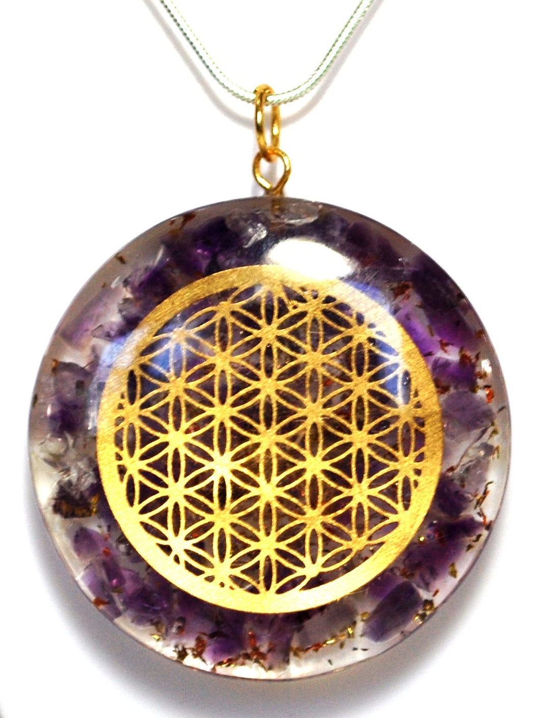 Orgone Amethyst Flower Of Life Pendant Inc Silver Plated Snake Chain