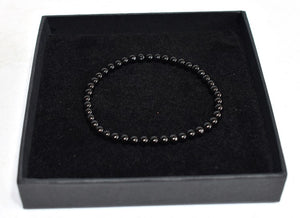 New! Natural Polished Black Obsidian Crystal Stone Beads Elasticated Bracelet Inc Gift Box