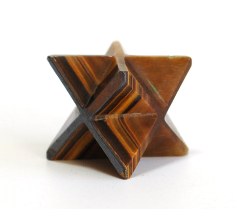 Tigers Eye Hand Cut Merkaba Star - Krystal Gifts UK