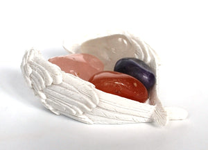 """Enhancing Energy & Lifting Fatigue"" Crystal Stone Gift Set & Angel Wings Dish - Krystal Gifts UK"