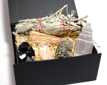 Load image into Gallery viewer, Cleansing Dispel Negativity Natural & Unique Crystals Boxed Gift Set Inc White Sage & Palo Santo