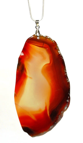New! Unique One Off Brown Agate Slice Crystal Pendant Necklace With 18