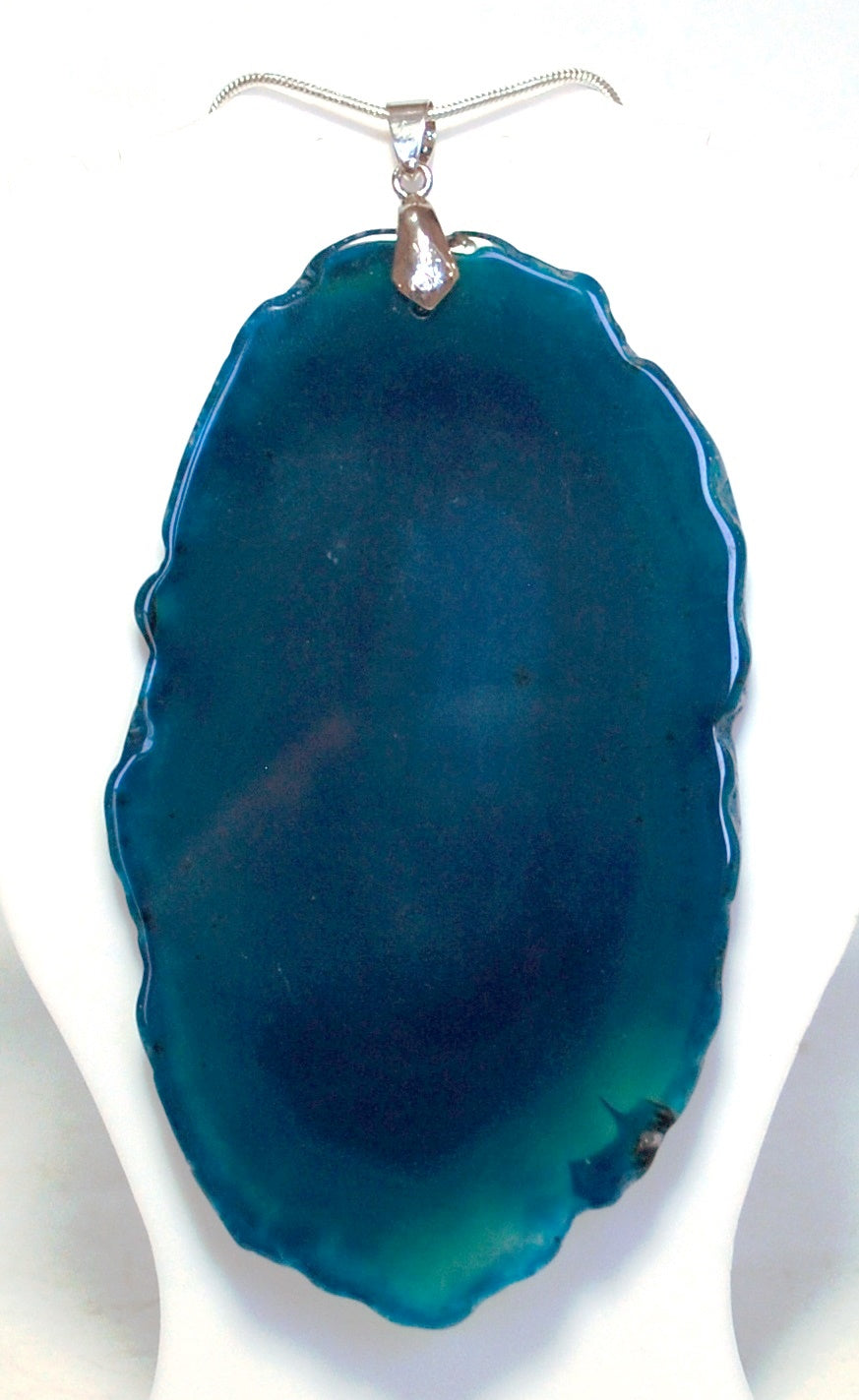 New! Unique One Off Blue Agate Slice Crystal Pendant Necklace With 18