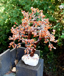 New Large Carnelian Crystal Stone Wire Wrapped Gemstone Tree With Crystal Base