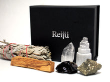 Load image into Gallery viewer, New! 'Dispel Negativity' Natural & Unique Crystals Boxed Gift Set Inc White Sage & Palo Santo!