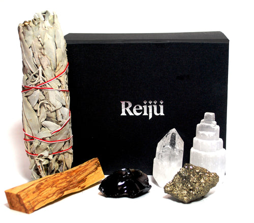 Cleansing Dispel Negativity Natural & Unique Crystals Boxed Gift Set Inc White Sage & Palo Santo