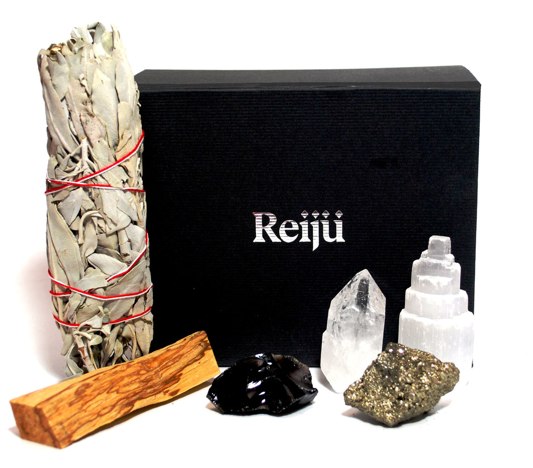 New! 'Dispel Negativity' Natural & Unique Crystals Boxed Gift Set Inc White Sage & Palo Santo!