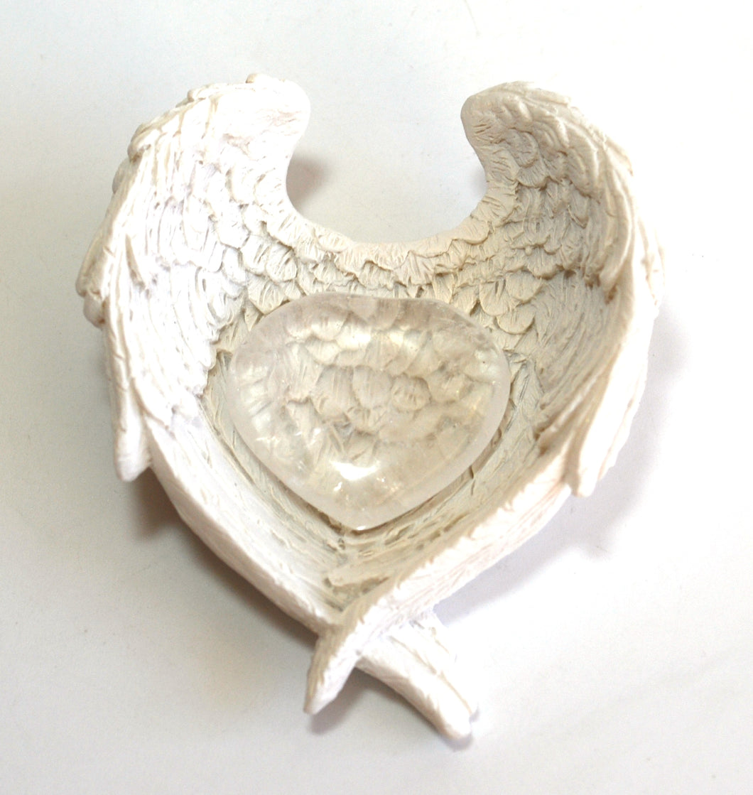 Clear Quartz Natural Crystal Heart Stone In Angel Wings Dish Gift Wrapped