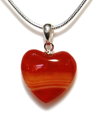 New! Natural Carnelian Polished Crystal Heart Pendant With 925 Sterling Silver Clasp & 18