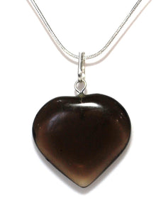 Black Obsidian Heart Pendant Inc Silver Plated Snake Chain Gift Wrapped