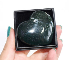 Load image into Gallery viewer, New! Moss Agate Natural Polished Crystal Stone Heart Inc Luxury Gift Box