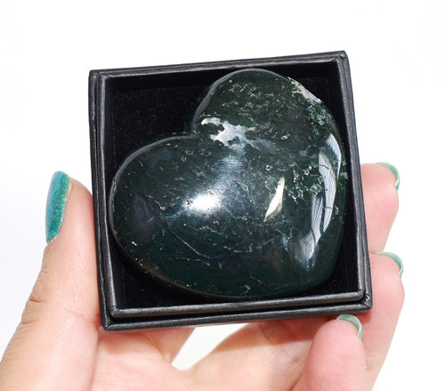 New! Moss Agate Natural Polished Crystal Stone Heart Inc Luxury Gift Box