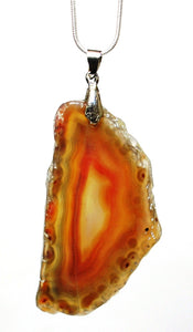 "New! Unique One Off Brown Agate Slice Crystal Pendant Necklace With 18"" Silver Chain"