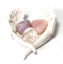 Load image into Gallery viewer, New! RAC Rose Quartz Amethyst & Clear Quartz Natural Crystal Tumble Stone Set