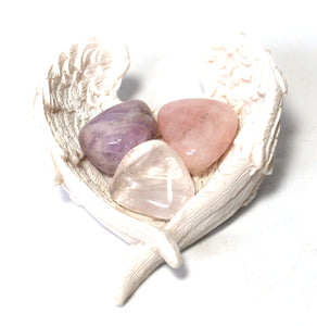New! RAC Rose Quartz Amethyst & Clear Quartz Natural Crystal Tumble Stone Set