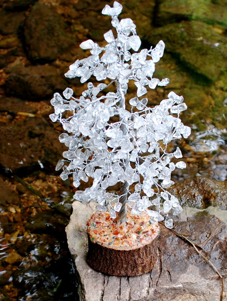 Clear Quartz Crystal Chip Wire Wrapped Gemstone Tree