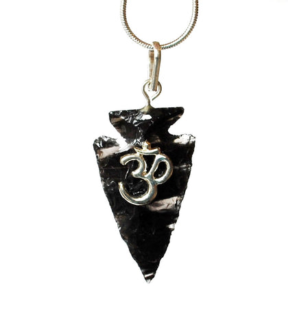 Black Obsidian 'Om' Crystal Arrowhead Pendant with Silver Chain Gift Wrapped - Krystal Gifts UK