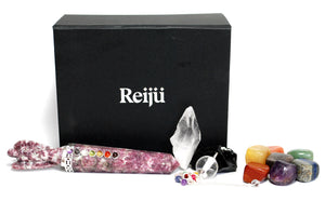 New 'Ultimate' Natural Healing Crystal Gift Boxed Set Inc Chakra Tumble Set, Clear Quartz, Black Obsidian