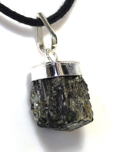New! Natural Raw Small Black Tourmaline Crystal Stone Pendant & Cord Necklace